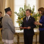 His Excellency Dr. Arjun Kumar Karki presents the Letters of Credence to the President of the Republic of Colombia H.E. Juan Manuel Santos Calderon, during the ceremony held at Bogota, Colombia on February 16, 2017.