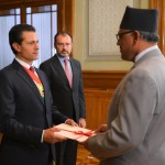 H.E. Dr. Arjun Kumar Karki presents Letters of Credence to the President of Mexico Enrique Peña Nieto on April 11, 2017.