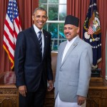 H.E Ambassador Dr. Arjun Kumar Karki with The President of the United States, Barack Obama at the White House.