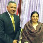 H.E Ambassador Dr. Arjun Kumar Karki with The Right Honourable President of Nepal Bidhya Devi Bhandari at the Office of the President, Sital Niwas, Kathmandu.