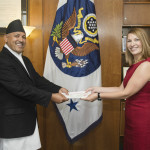 H.E Ambassador Dr. Arjun Kumar Karki presents a True Copy of the Letter of Credence to Heather Higginbottom, the U.S. Deputy Secretary of State for Management and Resources in the Washington D.C, U.S.
