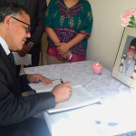 H.E Ambassador Dr. Arjun Kumar Karki pays homage to Former Prime Minister and the President of Nepali Congress Late Sushil Koirala by writing in condolence book at the Embassy. Feb 11, 2016.