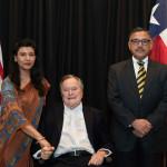 H.E Ambassador Dr. Arjun Kumar Karki and Mrs. Gauree Thakuri with former President of the United States, Mr. George H.W. Bush. Wednesday, Nov. 4, 2015, in Houston, TX.
